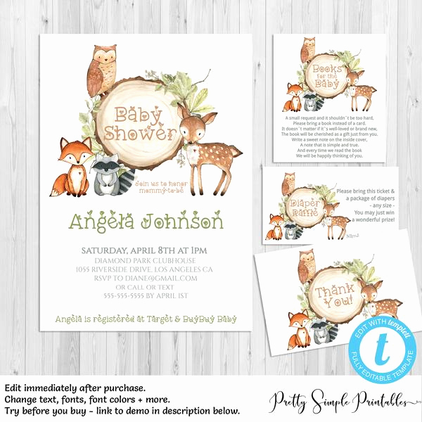 Woodland Baby Shower Invitation New Woodland Baby Shower Invitation Bundle Wd02 – Pretty