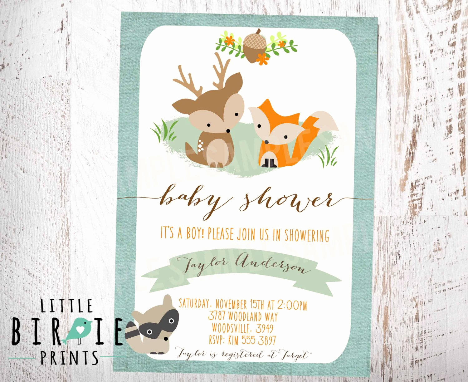 Woodland Baby Shower Invitation New Woodland Baby Shower Invitation Fox Deer Raccoon Boy