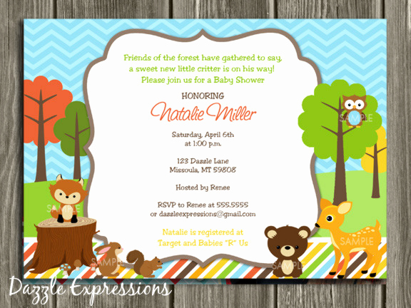 Woodland Baby Shower Invitation Unique Printable Woodland Baby Shower Invitation Thank You Card