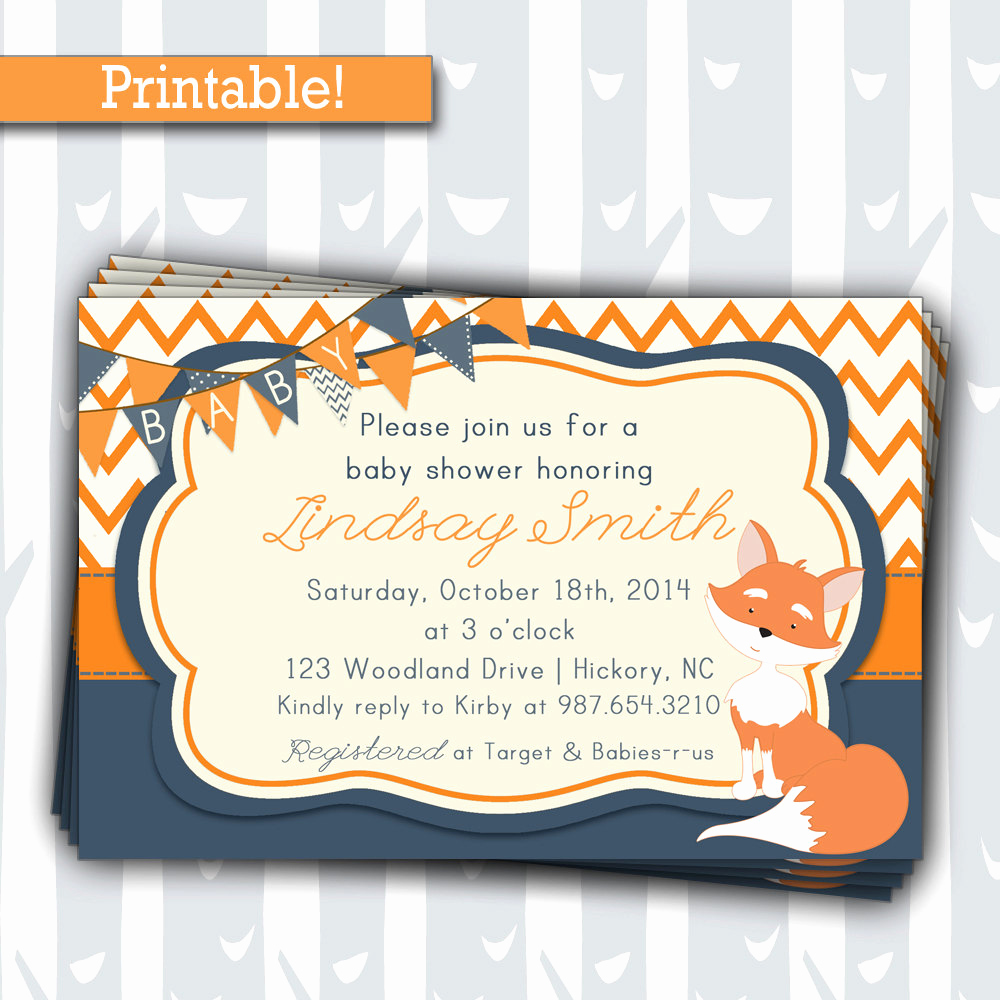 Woodlands Baby Shower Invitation Awesome Cute Fox Baby Shower Invitation Woodland Animals by Inkyinvite