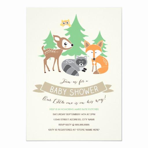woodland friends baby shower invite
