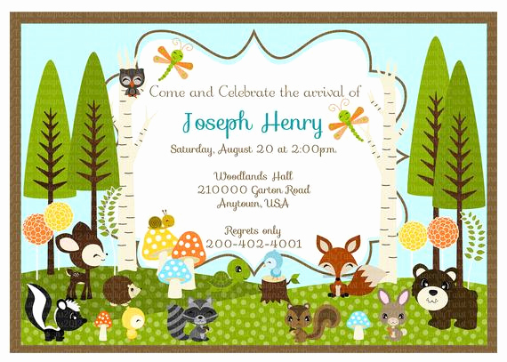 Woodlands Baby Shower Invitation Awesome Woodland Friends Diy Collection Digital Birthday Baby Shower