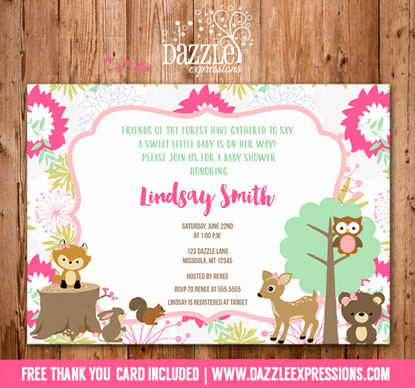 Woodlands Baby Shower Invitation Beautiful Printable Woodland Girl Baby Shower Invitation forest