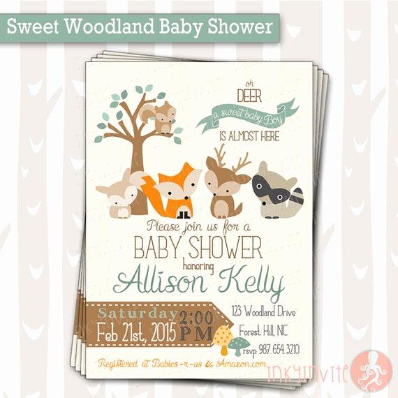 Woodlands Baby Shower Invitation Best Of Sweet Woodland Baby Shower Invitation Baby Boy Woodland