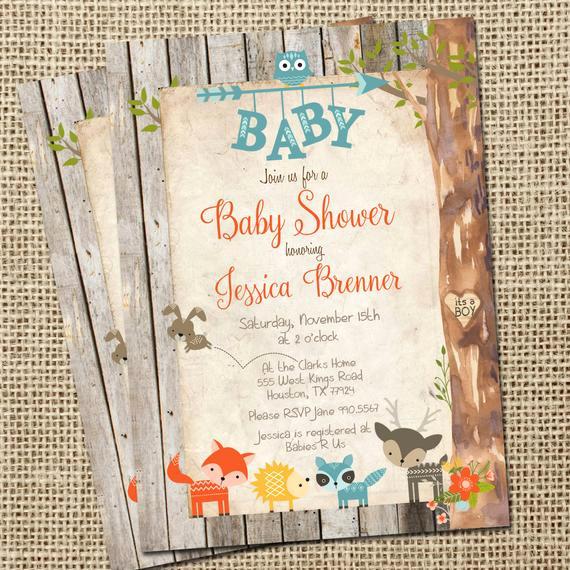 Woodlands Baby Shower Invitation Elegant Rustic Baby Shower Invitation Woodland Animals Baby Shower