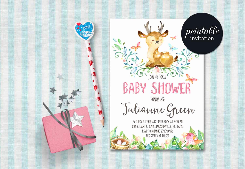 Woodlands Baby Shower Invitation Fresh Deer Baby Shower Invitation Printable Woodland Baby Shower