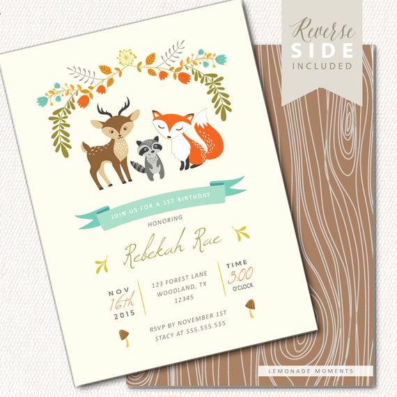 Woodlands Baby Shower Invitation Fresh Woodland Birthday Invitation Fox Birthday Invitation Fall