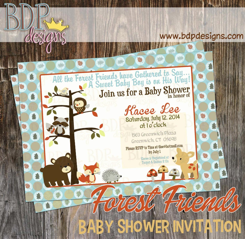 Woodlands Baby Shower Invitation Inspirational forest Friends Woodland Baby Shower Invitation Customized