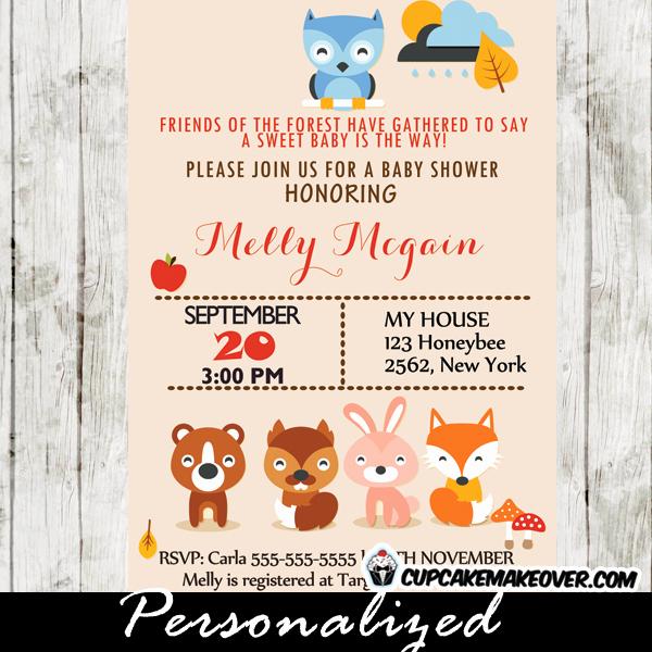 Woodlands Baby Shower Invitation Inspirational Woodland Creatures Baby Shower Invitation Personalized