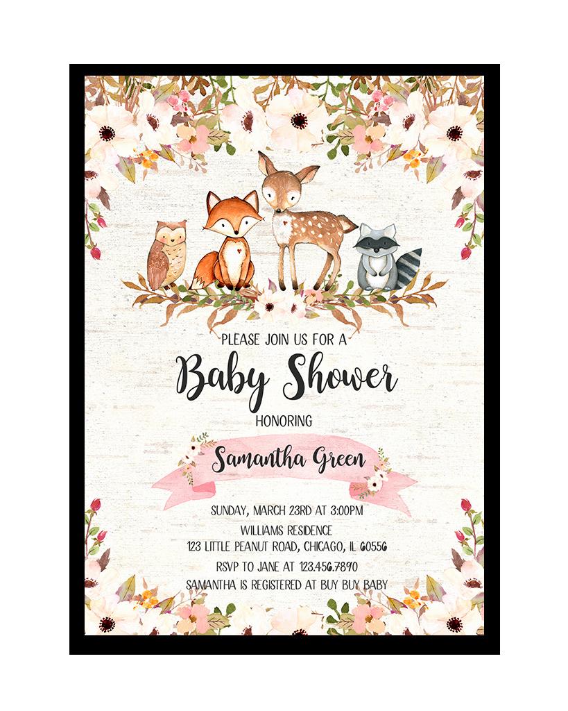 Woodlands Baby Shower Invitation New Floral Woodland Baby Shower Invitation Printable In 2019