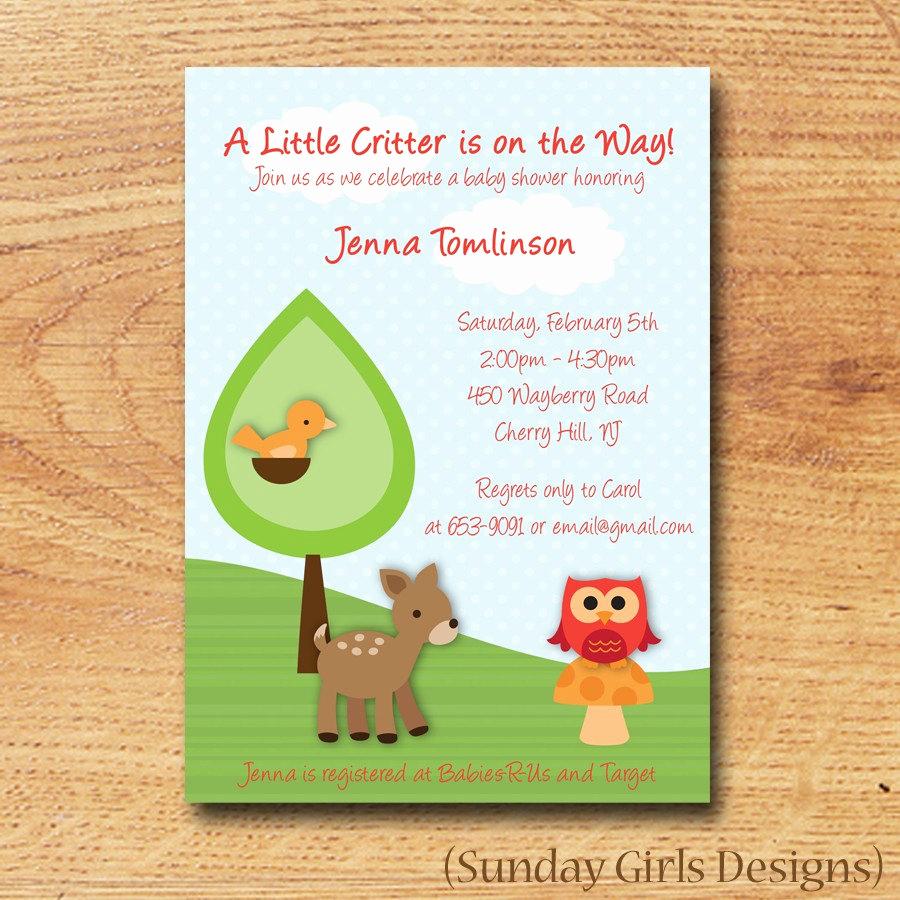 Woodlands Baby Shower Invitation New Woodland Critters Baby Shower Invitation by Sundaygirlsdesigns