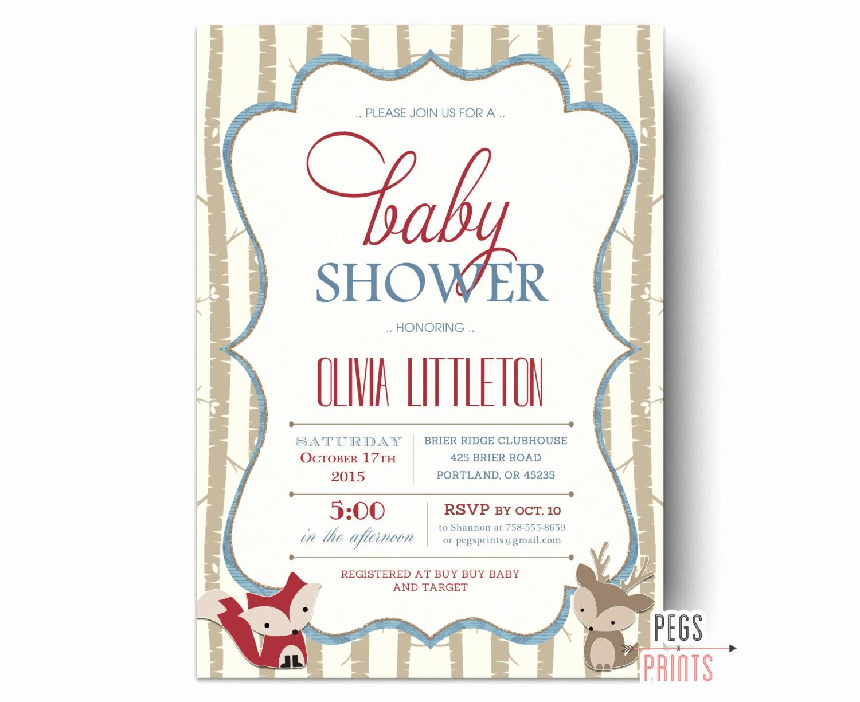 Woodlands Baby Shower Invitation New Woodland Shower Invitation Woodland Baby Shower Invites