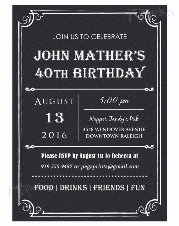 Wording for 40th Birthday Invitation Beautiful 40th Birthday Invitation for Men Printable Milestone