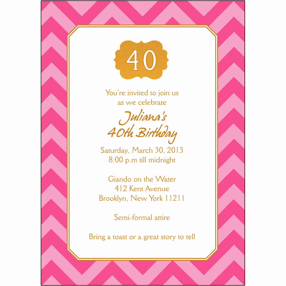 Wording for 40th Birthday Invitation Best Of 25 Personalized 40th Birthday Party Invitations Bp 044