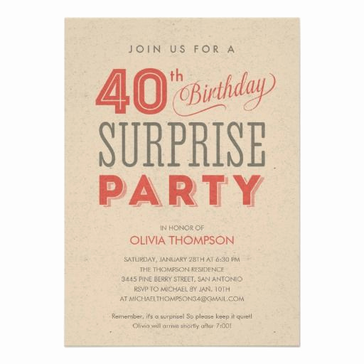 Wording for 40th Birthday Invitation Best Of Surprise 40th Birthday Invitations Wording