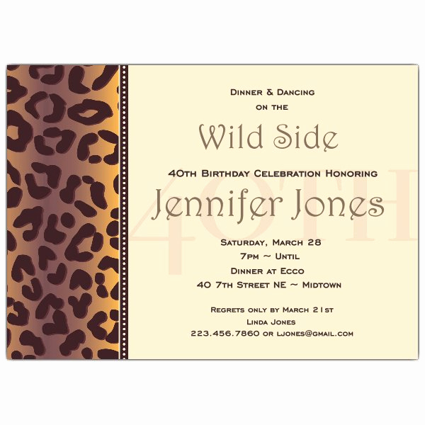 Wording for 40th Birthday Invitation Elegant Cheetah 40th Birthday Invitations