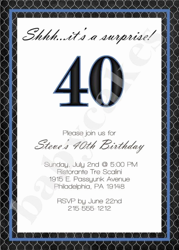 Wording for 40th Birthday Invitation Inspirational Items Similar to Adult Male Birthday Invitation 40th