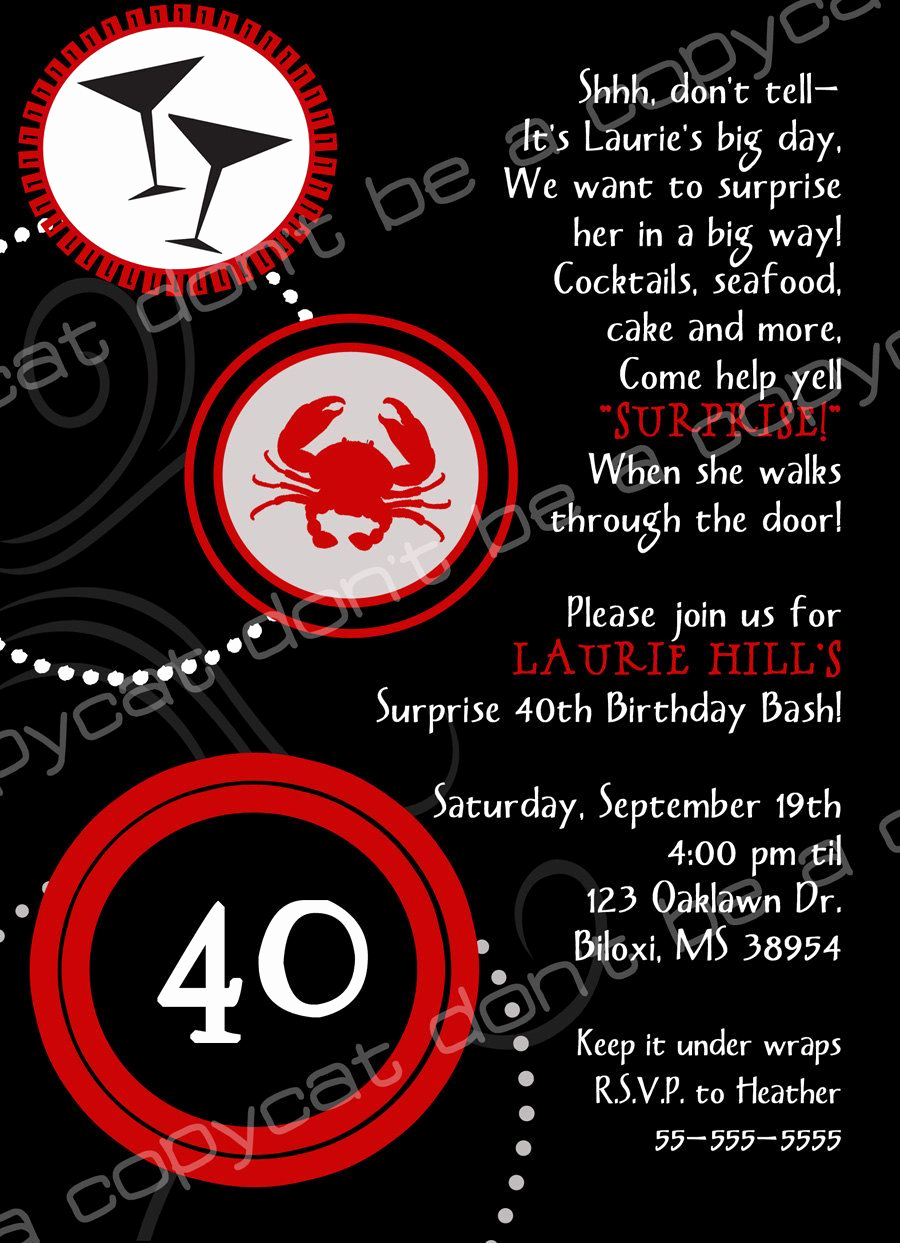 Wording for 40th Birthday Invitation Lovely 40th Birthday Invite Wording Surprise
