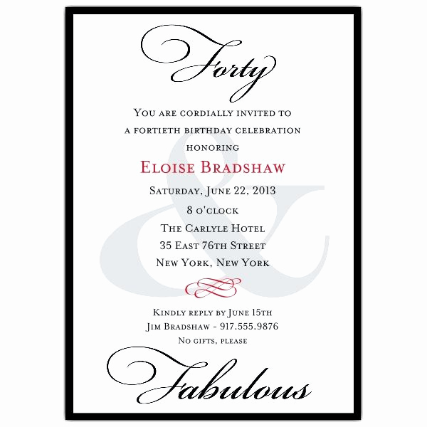 Wording for 40th Birthday Invitation Lovely Best 25 40th Birthday Invitation Wording Ideas On