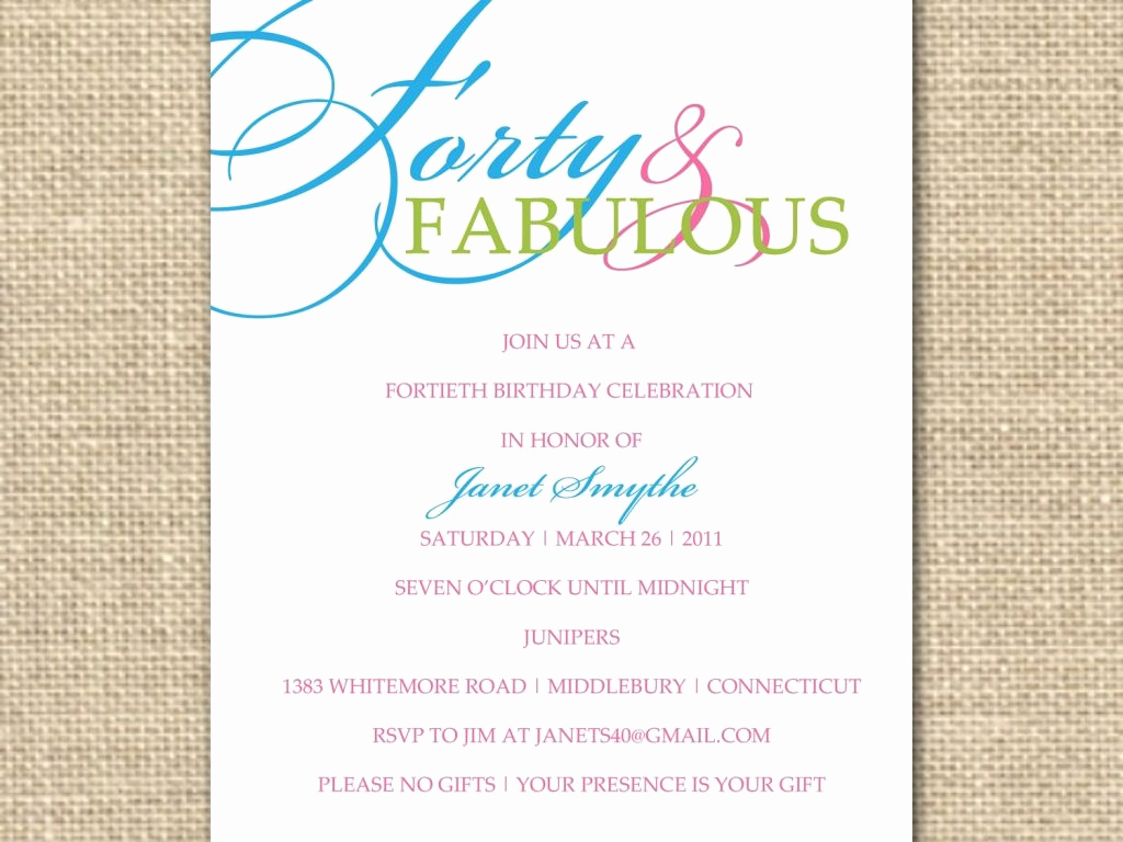 Wording for 40th Birthday Invitation Luxury 40th Birthday Wording for Invitations Cobypic