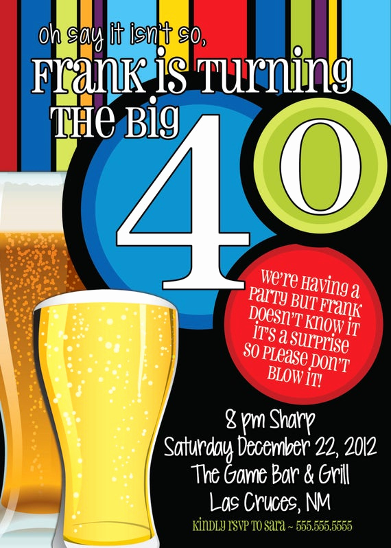 Wording for 40th Birthday Invitation New 40th Birthday Surprise Party Invitations Beer Men by