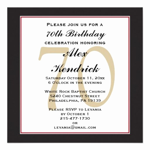 Wording for 70th Birthday Invitation Awesome 70th Birthday Invitation