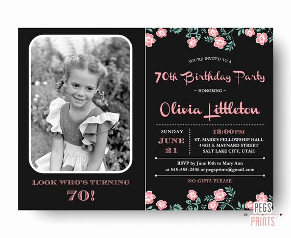 Wording for 70th Birthday Invitation Beautiful Birthday Invitation 70th Birthday Invitation Printable