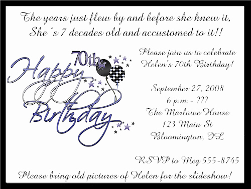 Wording for 70th Birthday Invitation Best Of 70 Birthday Party Invitations