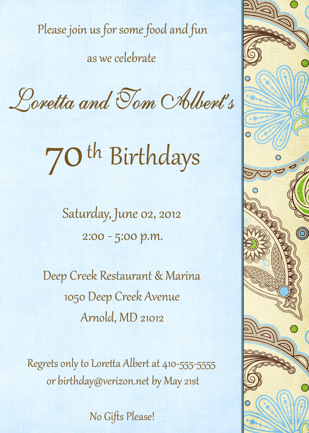 Wording for 70th Birthday Invitation Best Of 70th Birthday Invitation Wording — Birthday Invitation