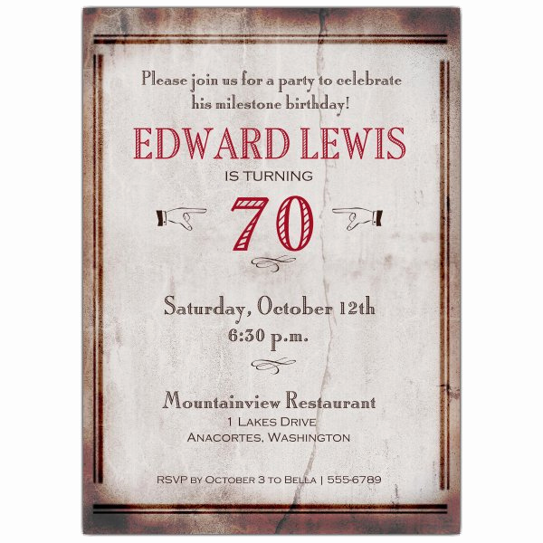 Wording for 70th Birthday Invitation Best Of Old World 70th Birthday Invitations