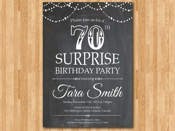 Wording for 70th Birthday Invitation Elegant Surprise 70th Birthday Invitation Chalkboard Surprise
