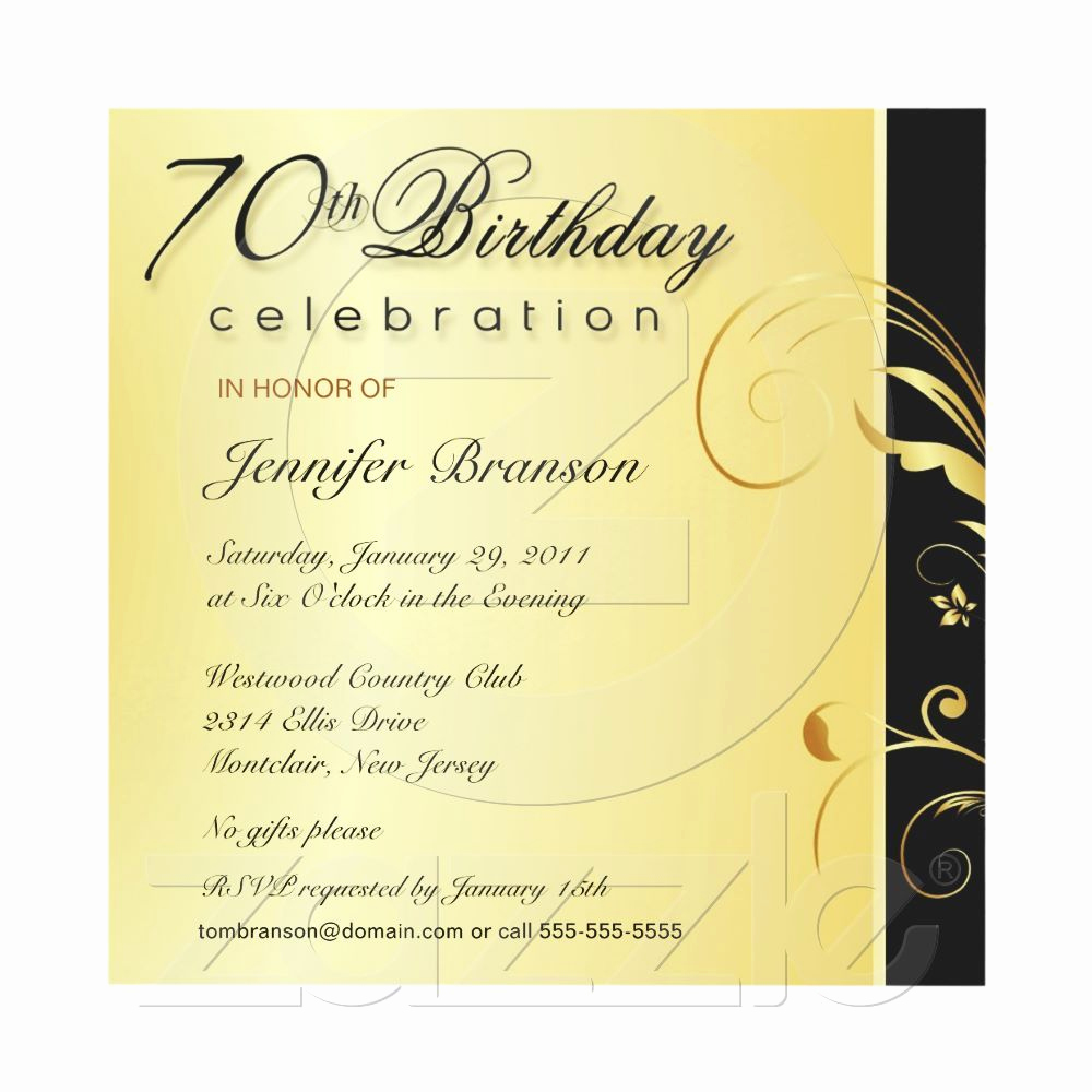 Wording for 70th Birthday Invitation Fresh 70th Birthday Adult Elegant Gold Floral Invites