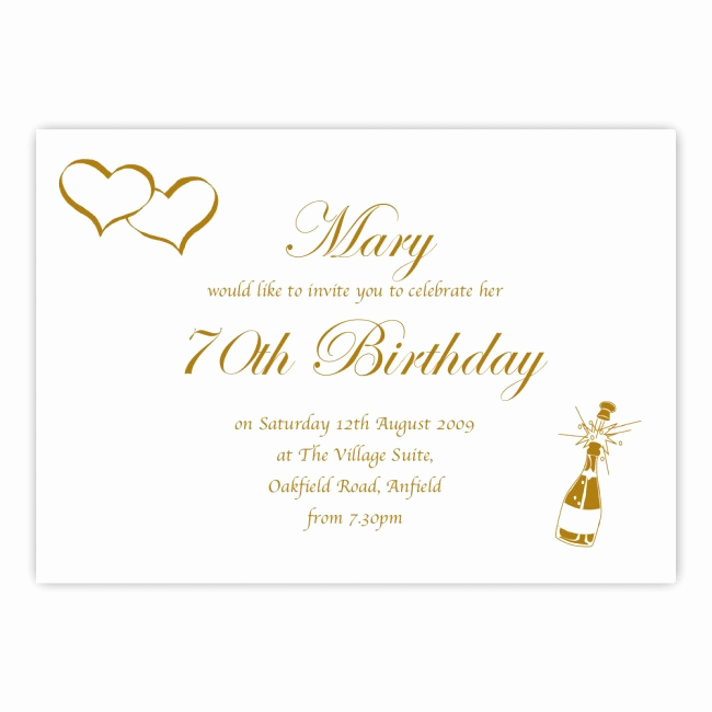 Wording for 70th Birthday Invitation Inspirational 70th Birthday Party Invitations Wording