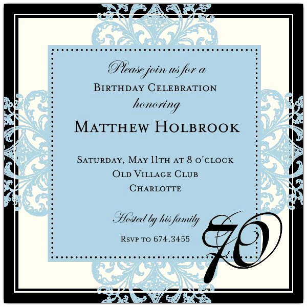 Wording for 70th Birthday Invitation Inspirational Decorative Square Border Blue 70th Birthday Invitations