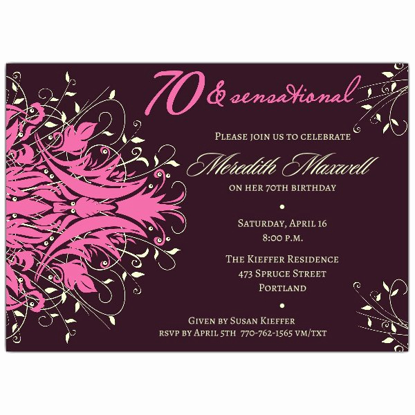 Wording for 70th Birthday Invitation Lovely andromeda Pink 70th Birthday Invitations