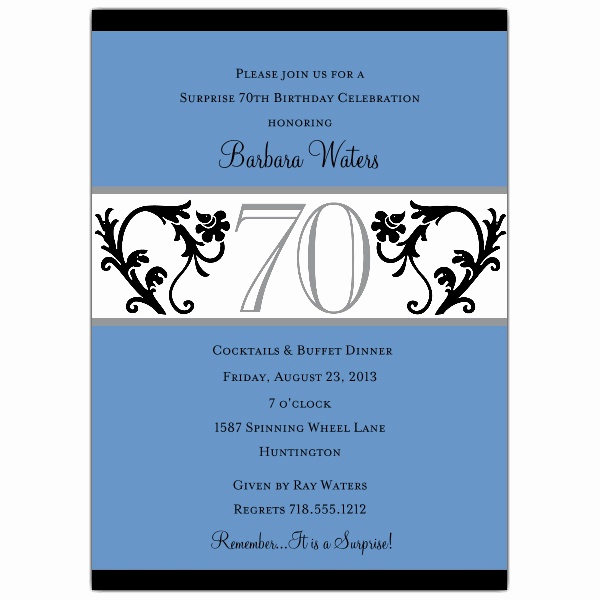 Wording for 70th Birthday Invitation Lovely Elegant Vine Blue 70th Birthday Invitations