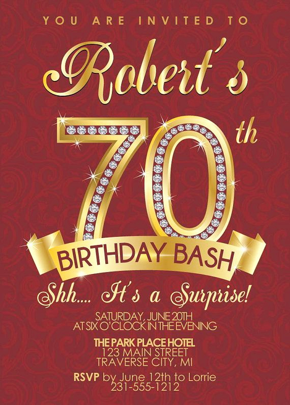 surprise 70th birthday party invitations