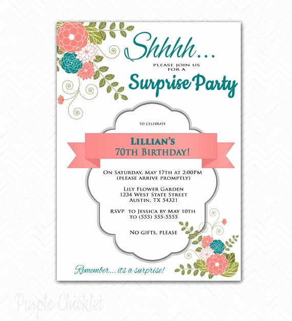 Wording for 70th Birthday Invitation New Surprise Invitation 70th Birthday Party Invitation Coral