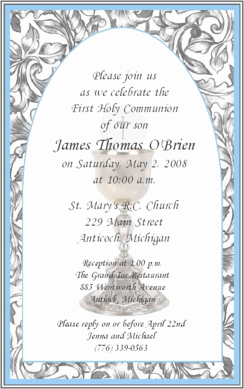 Wording for First Communion Invitation Awesome First Munion Invitations for Boys