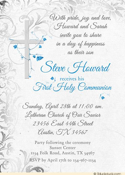 Wording for First Communion Invitation Awesome Holy Munion Invitation Elegant Cross Catholic Flowers