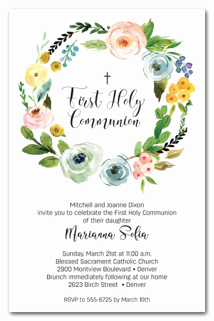Wording for First Communion Invitation Beautiful Spring Wreath First Holy Munion Invitations