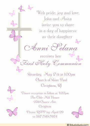 Wording for First Communion Invitation Best Of Catholic Cross butterfly Munion Invitation Girl S