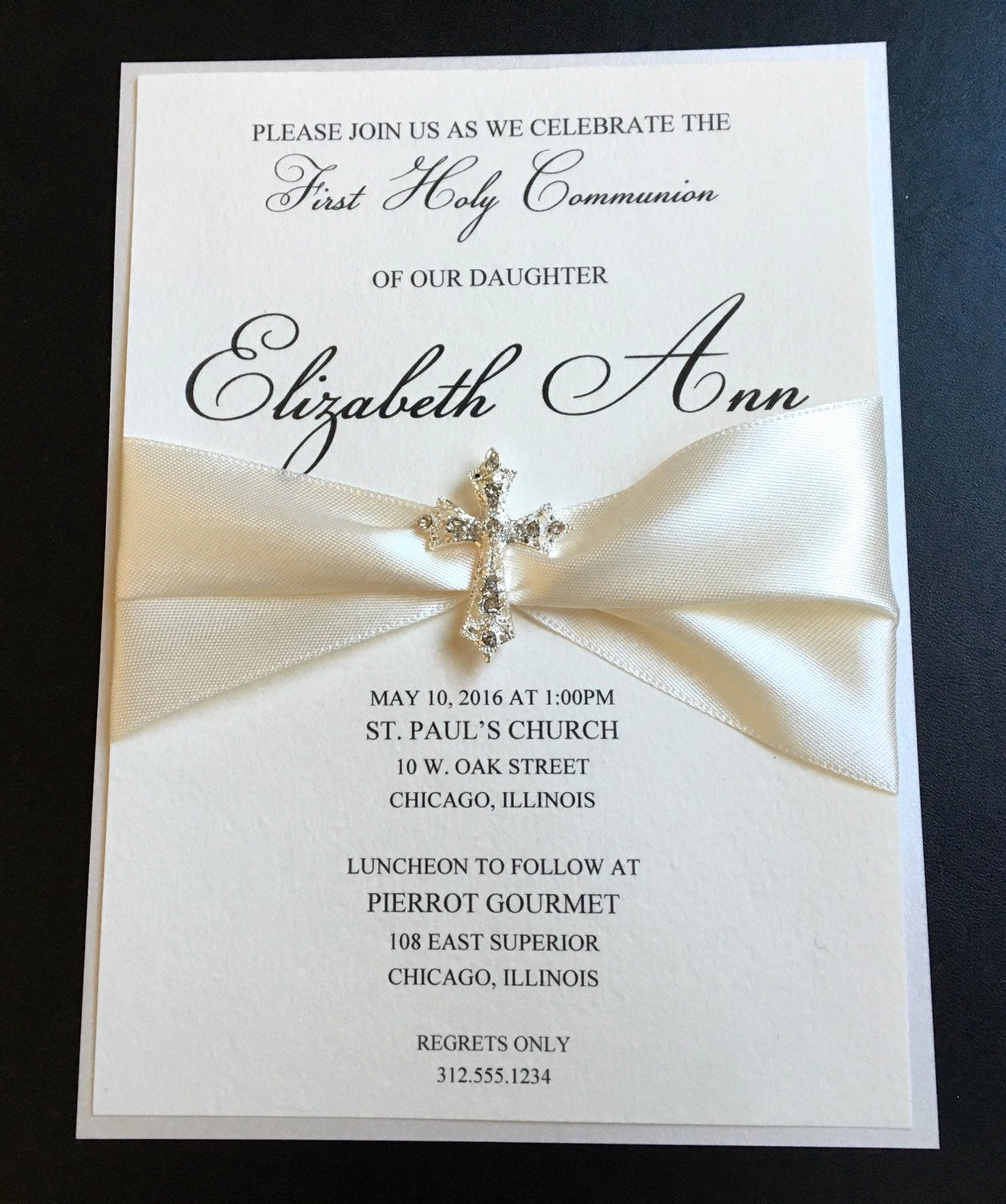 Wording for First Communion Invitation Best Of Cream Embellished Luxury First Munion Invitation Baptism