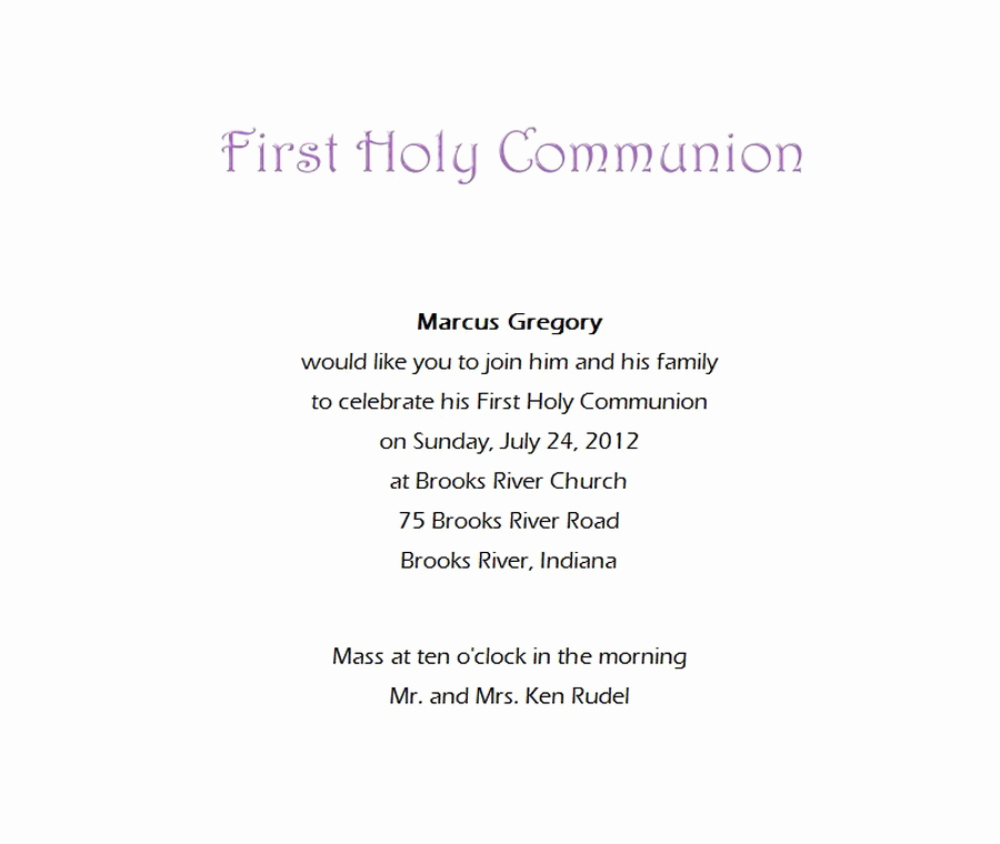 Wording for First Communion Invitation Fresh First Munion Invitations 7 Wording