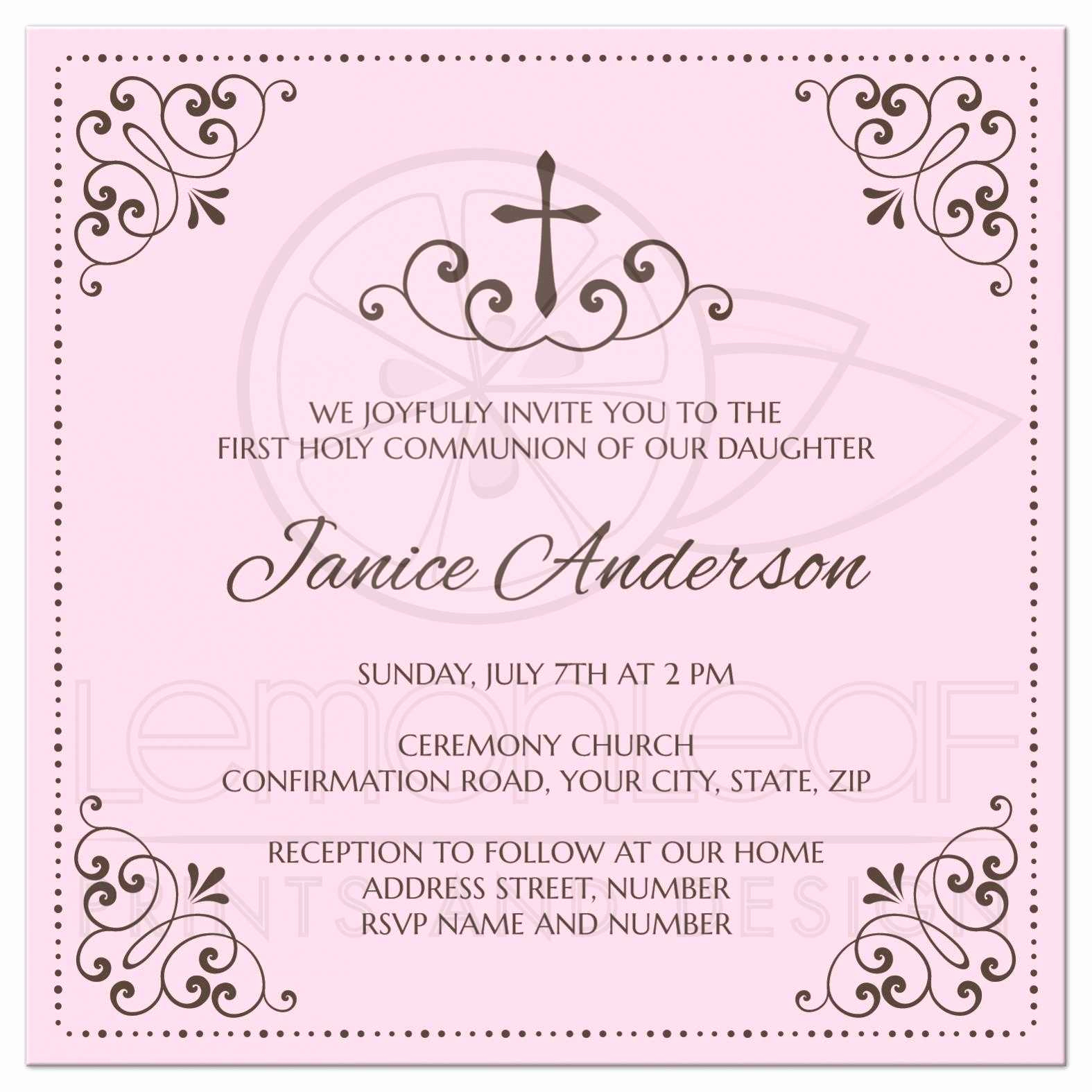 Wording for First Communion Invitation Inspirational Pink and Brown First Holy Munion Confirmation
