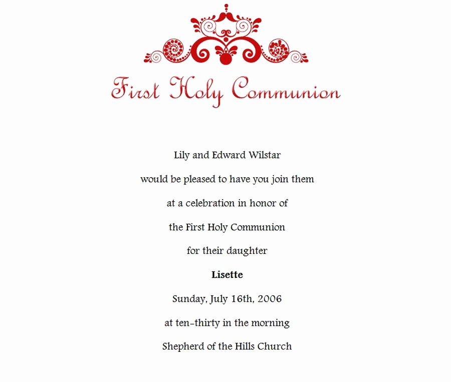 Wording for First Communion Invitation Lovely First Munion Invitations 1 Wording