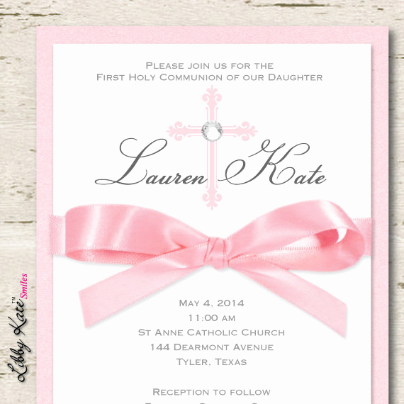 Wording for First Communion Invitation Luxury Girl First Munion Invitation Girl Elegant Munion