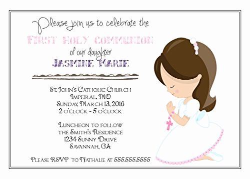 Wording for First Communion Invitation Unique Customized Girls First Munion Invitation Buy Line