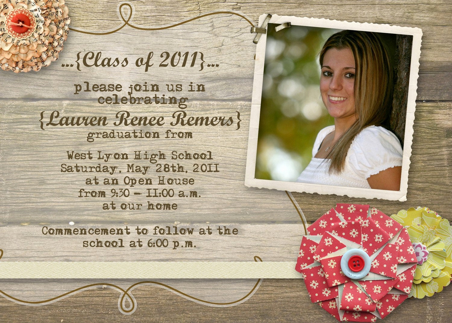 Wording for Graduation Invitation Inspirational Rustic Graduation Open House Invitation by Gwenmariedesigns