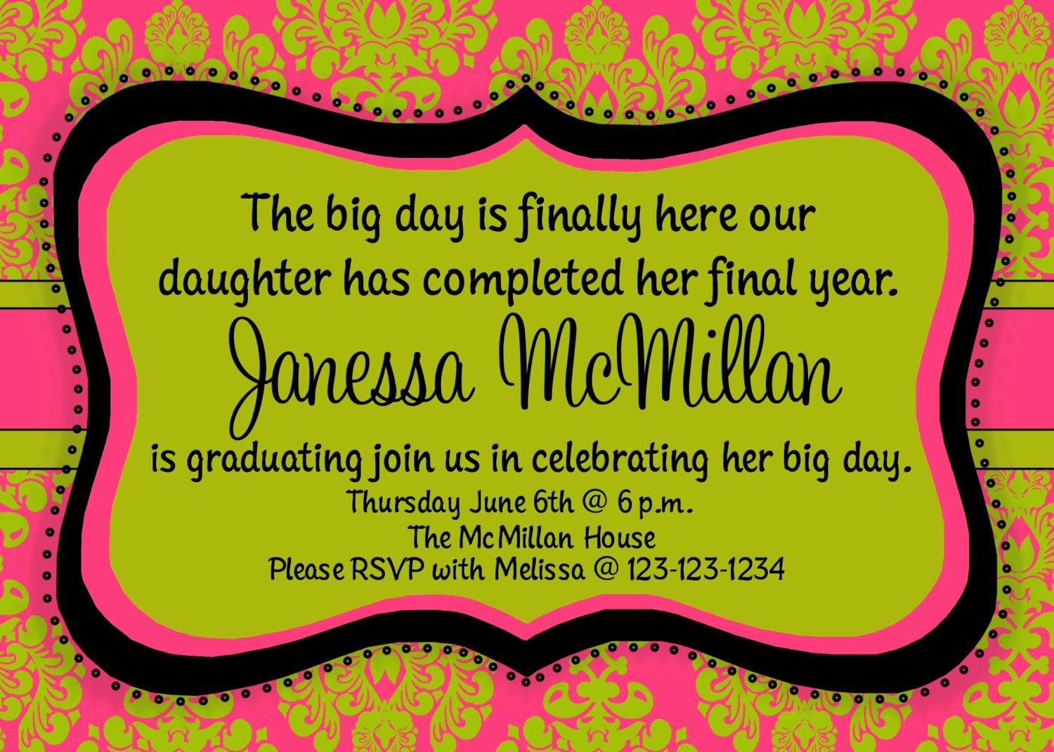 Wording for Graduation Party Invitation Elegant Graduation Party Birthday Party Invitation Print Your Own